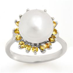 0.75 CTW Yellow Sapphire & Pearl Ring 18K White Gold - REF-51M6H - 10531