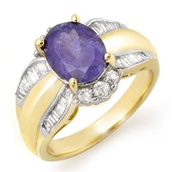 3.52 CTW Tanzanite & Diamond Ring 14K Yellow Gold - REF-114A2X - 14458