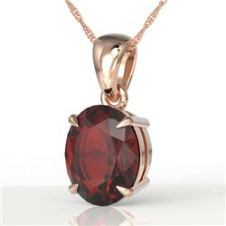 3.50 CTW Garnet Designer Inspired Solitaire Necklace 14K Rose Gold - REF-29M3H - 21862