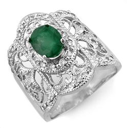 2.15 CTW Emerald & Diamond Ring 14K White Gold - REF-80M2H - 10577