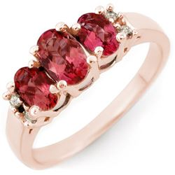 0.92 CTW Pink Tourmaline & Diamond Ring 14K Rose Gold - REF-33T5M - 10923