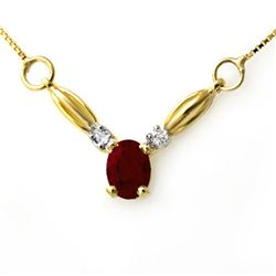 1.30 CTW Ruby & Diamond Necklace 10K Yellow Gold - REF-19W8F - 12637