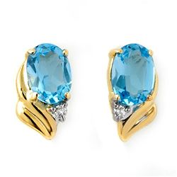 1.23 CTW Blue Topaz & Diamond Earrings 10K Yellow Gold - REF-11A3X - 12579