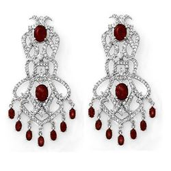 17.50 CTW Ruby & Diamond Earrings 18K White Gold - REF-515W5F - 11846