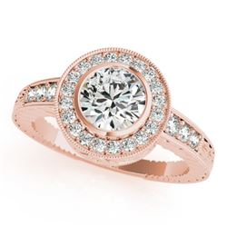 1.11 CTW Certified VS/SI Diamond Solitaire Halo Ring 18K Rose Gold - REF-216M2H - 26650