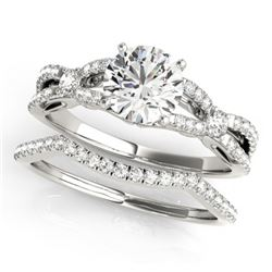 1.5 CTW Certified VS/SI Diamond Solitaire 2Pc Wedding Set 14K White Gold - REF-378X2T - 31889