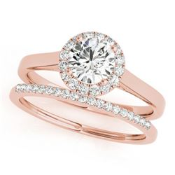 0.89 CTW Certified VS/SI Diamond 2Pc Wedding Set Solitaire Halo 14K Rose Gold - REF-135H6A - 30985
