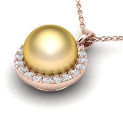 0.25 CTW Micro Pave Halo VS/SI Diamond & Golden Pearl Necklace 14K Rose Gold - REF-33X8T - 21562