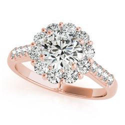 2 CTW Certified VS/SI Diamond Solitaire Halo Ring 18K Rose Gold - REF-410F2N - 26288