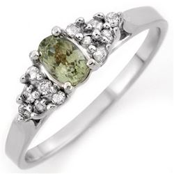 0.74 CTW Green Sapphire & Diamond Ring 18K White Gold - REF-38H2A - 10394