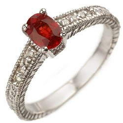 0.86 CTW Red Sapphire & Diamond Ring 10K White Gold - REF-25X3T - 10912