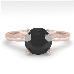 1.50 CTW Black Diamond Engagement Designer Ring 18K Rose Gold - REF-64H9A - 32438