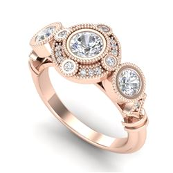 1.51 CTW VS/SI Diamond Solitaire Art Deco 3 Stone Ring 18K Rose Gold - REF-300X2T - 36987