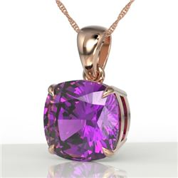 6 CTW Cushion Cut Amethyst Designer Solitaire Necklace 14K Rose Gold - REF-35M3H - 21968