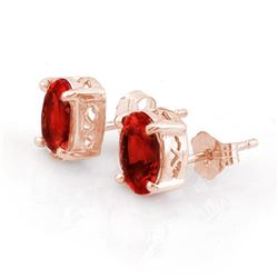 2.0 CTW Garnet Earrings 14K Rose Gold - REF-12H2A - 10218