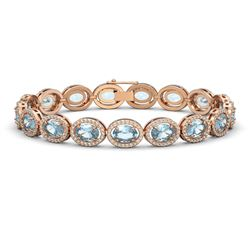 18.38 CTW Aquamarine & Diamond Halo Bracelet 10K Rose Gold - REF-320X9T - 40626