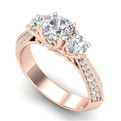 1.81 CTW VS/SI Diamond Art Deco 3 Stone Ring 18K Rose Gold - REF-318F2N - 37146