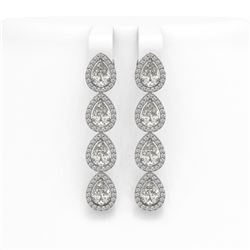 6.01 CTW Pear Diamond Designer Earrings 18K White Gold - REF-1127X6T - 42737