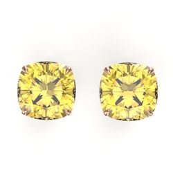 12 CTW Cushion Cut Citrine Designer Solitaire Stud Earrings 14K Rose Gold - REF-35T6M - 21777