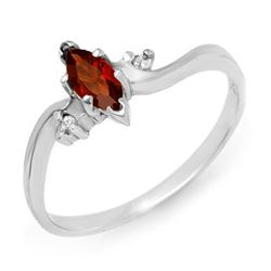 0.29 CTW Garnet & Diamond Ring 18K White Gold - REF-22K9W - 12436