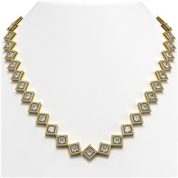 31.92 CTW Princess Cut Diamond Designer Necklace 18K Yellow Gold - REF-5920A2X - 42850