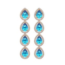 7.81 CTW Swiss Topaz & Diamond Halo Earrings 10K Rose Gold - REF-137N3Y - 41172