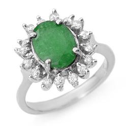 3.10 CTW Emerald & Diamond Ring 18K White Gold - REF-83K6W - 12685