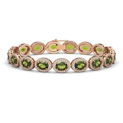 21.71 CTW Tourmaline & Diamond Halo Bracelet 10K Rose Gold - REF-338X9T - 40623