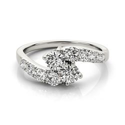 1.25 CTW Certified VS/SI Diamond 2 Stone 2 Stone Ring 18K White Gold - REF-151F5N - 28207