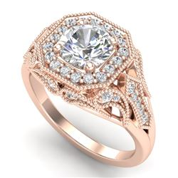 1.75 CTW VS/SI Diamond Solitaire Art Deco Ring 18K Rose Gold - REF-436Y4K - 37320