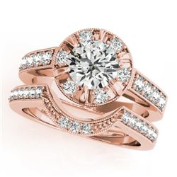 2.35 CTW Certified VS/SI Diamond 2Pc Wedding Set Solitaire Halo 14K Rose Gold - REF-488F8N - 31293