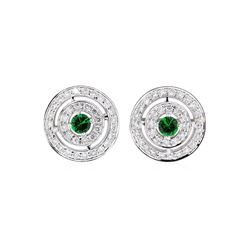 0.66 ctw Tsavorite And Diamond Earrings - 14KT White Gold