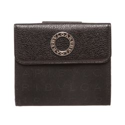 Bvlgari Black Canvas Leather Trim Snap Closure Small Wallet