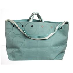 Gucci Blue White Canvas Leather Large GG Tote Shoulder Bag