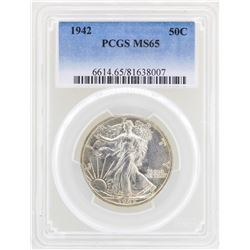 1942 Walking Liberty Half Dollar Coin PCGS MS65