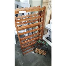 WOOD WINE SHELF AND METAL WINE RACK