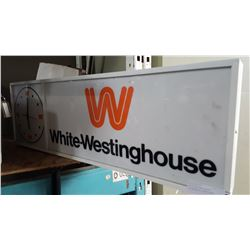 WHITE WESTING HOUSE ILLUMINATED SIGN CLOCK