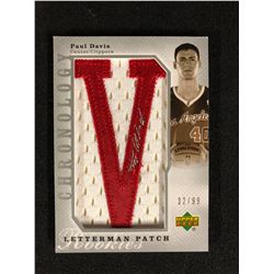 UPPER DECK LETTERMAN PATCH PAUL DAVIS BASKETBALL ROOKIE AUTO CARD