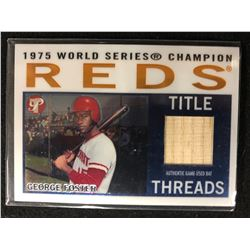 1975 WORLD SERIES CHAMPION TITLE THREADS AUTHENTIC GAME USED BAT GEORGE FOSTER