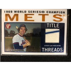 1969 WORLD SERIES CHAMPION TITLE THREADS AUTHENTIC GAME WORN UNIFORM ED KRANEPOOL