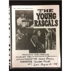 THE YOUNG RASCALS CONCERT FLYER (1968) PACIFIC COLISEUM/ VANCOUVER BC