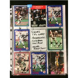 AUTOGRAPHED CFL FOOTBALL CARD LOT (PASAGLIA/ LOCHBAUM/ PAYNE/ SCOTT)