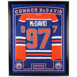 Connor McDavid Signed Oilers 36x44 Custom Framed Authentic Reebok Premier Jersey (UDA COA) (Imperfec