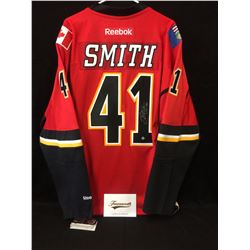 MIKE SMITH SIGNED FLAMES JERSEY W/ FRAMEWORTH COA