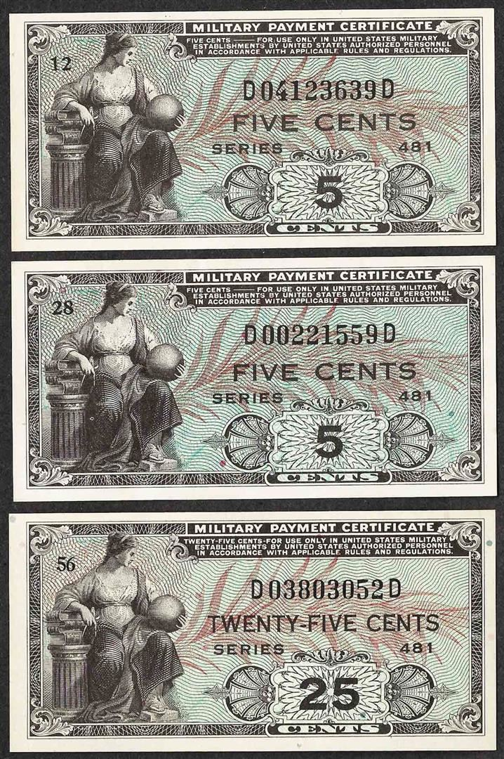 Lot Of 3 Series 481 Military Payment Certificate Notes Uncirculated