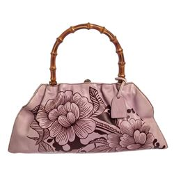 Gucci Pink Brown Leather Floral Bamboo Tote Bag