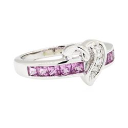 0.50 ctw Pink Sapphire and Diamond Ring - 10KT White Gold