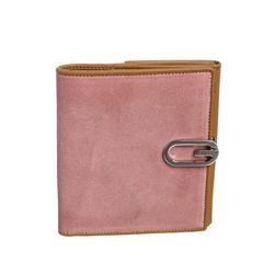 Gucci Pink Beige Suede Leather Bifold Wallet
