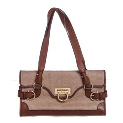 Salvatore Ferragamo Beige Brown Gancini Embossed Leather Shoulder Bag