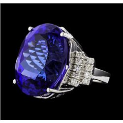 GIA Cert 43.95 ctw Tanzanite and Diamond Ring - 14KT White Gold